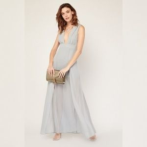 Deep Plunge Maxi Dress Flowy Sheer Formal Gray